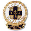 Licensed Vocational Nurse LVN Wreath Edge Round Emblem Pin