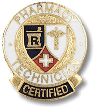 Certified Pharmacy Technician Round Emblem Pin