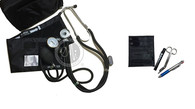 EMI 330-NK - BLACK Sprague Rappaport Stethoscope and Aneroid Sphygmomanometer Blood Pressure Set and Pocket Organizer Nurse Kit