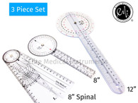 "EMI 3 piece Goniometer set - 12"", 8"", 8"" Spinal EGM-428"