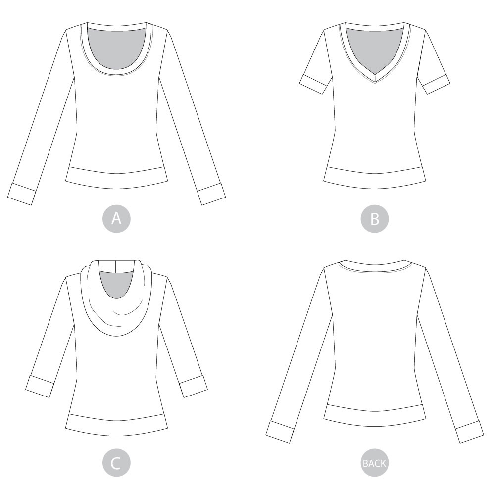 Renfrew Top by Sewaholic Patterns, Line Drawings of View A, B & C
