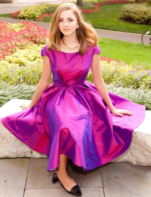 Taffeta Cocktail Dress - Calf Length, Full Skirt & Short Sleeve