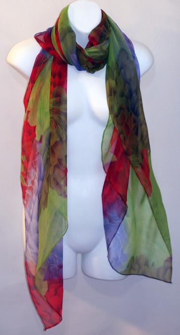 Large 100% Silk Chiffon Scarf - Red, Green, & Purple Floral