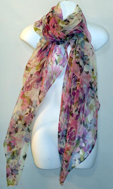 Large 100% Silk Chiffon Scarf - Pastel Pink Greens Purple Floral