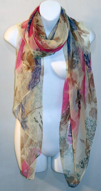 Large 100% Silk Chiffon Scarf - Pastel Floral