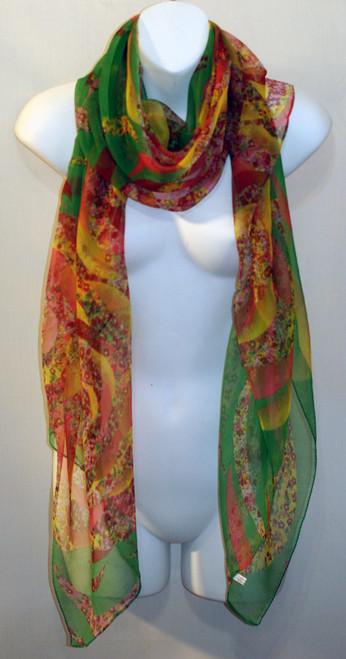 Large 100% Silk Chiffon Scarf - Pink & Green Floral