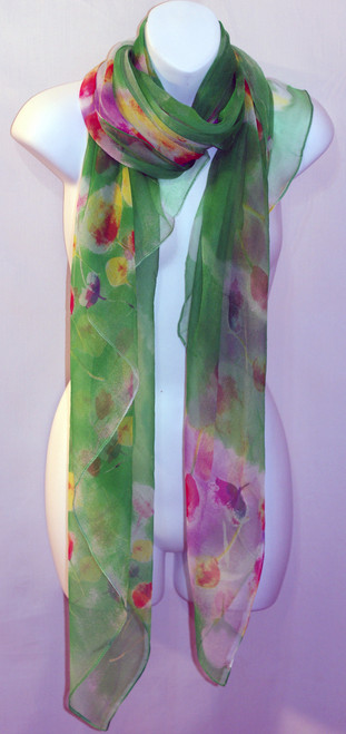 Large 100% Silk Chiffon Scarf - Green Tulips