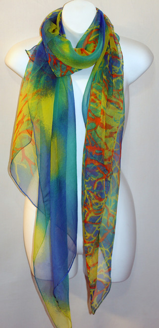 Large 100% Silk Chiffon Scarf - Blue/Green Coral