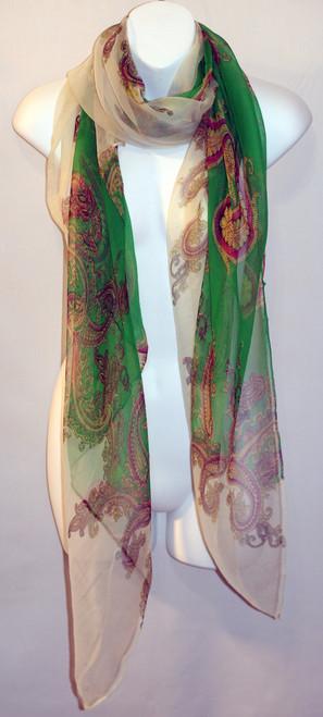 Large 100% Silk Chiffon Scarf - Pink/Green Paisley