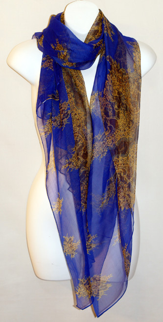 Large 100% Silk Chiffon Scarf - Blue/Gold Paisley