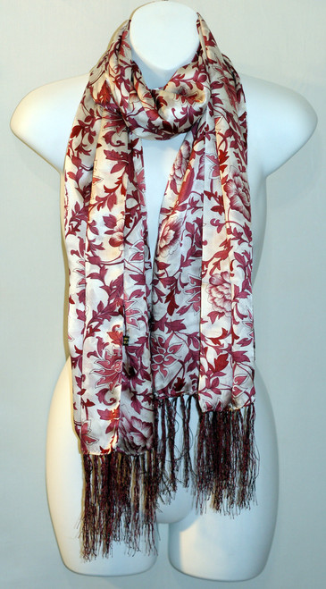 100% Silk Charmeuse Scarf - Red Floral