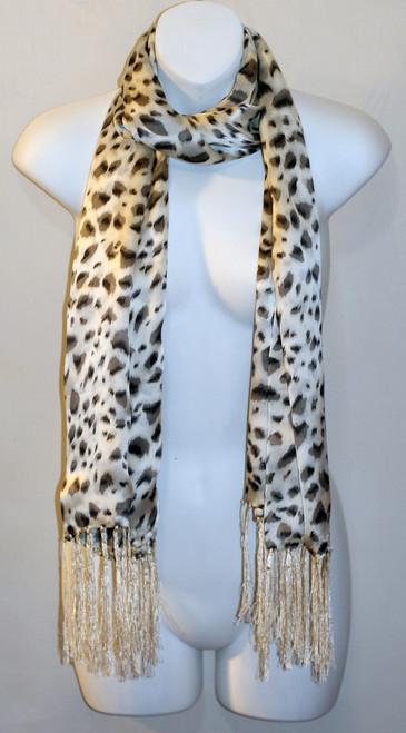 100% Silk Charmeuse Scarf - Black & White Leopard