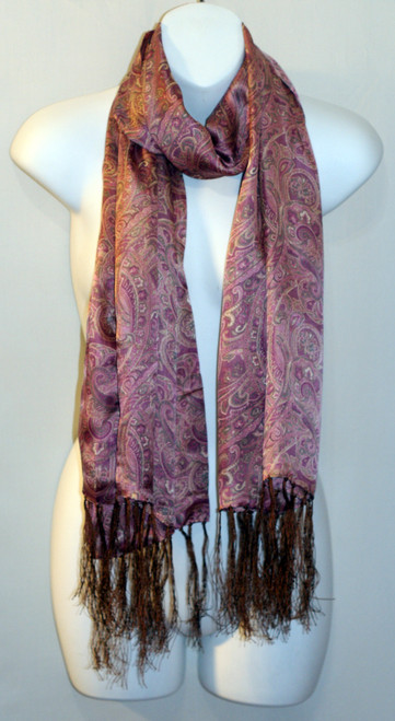 100% Silk Charmeuse Scarf - Pale Pink Paisley
