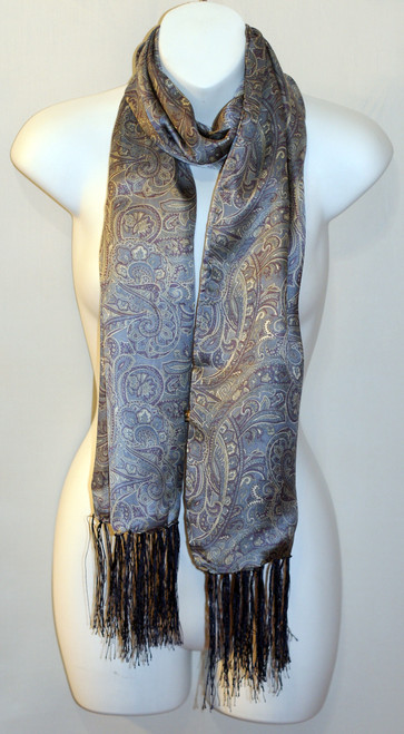 100% Silk Charmeuse Scarf - Pale Blue Paisley