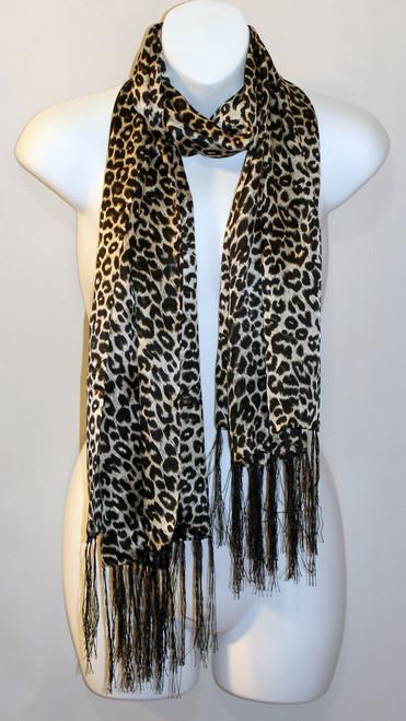 100% Silk Charmeuse Scarf - Leopard