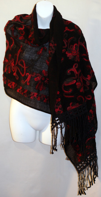 Felted Wool Shawl - Black with Red