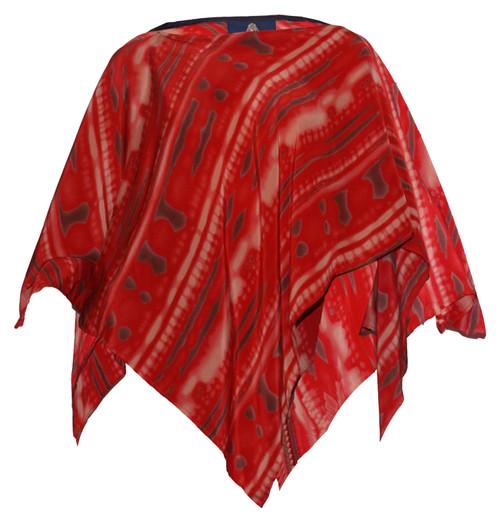 100% SILK PONCHO - Red Tie-Dye