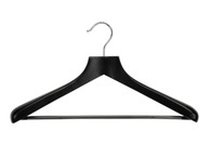 46CM Deluxe Black Wooden Coat Hanger w/Non-Slip Bar 50mm Thick (Sold in 5/10/20)