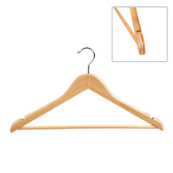 43CM Beech Wood Suit Hanger With Rubber 14mm Thick (Sold in 25/50/100)