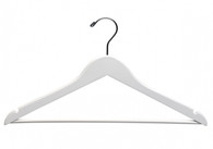 This flat white suit wood hanger with a chrome hook and notches in the shoulder ideal for hanging straps. The pant bar is very strong and durable. These hangers are stained in a rich white colour and coated in white lacquer.