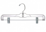 35.5CM Clear Plastic Pant Hanger With Clips (Sold in Bundles of 25/50/100)