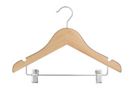 30.5CM Baby Beech Wood Hanger With Clips (Sold in Bundles of 25/50/100)