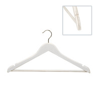 43CM White Wooden Suit Hangers W/Curved Body 14mm Thick (Sold in 25/50/100)