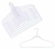 White Velvet Suit Hangers (Sold in Bundles of 10/25/50)