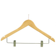 43CM Beech Wood Pilfer Proof Hanger With Clips 12mm Thick (Sold in 25/50/100)