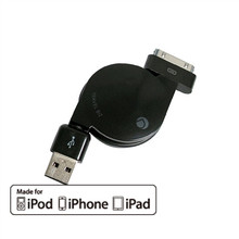 Apple 30-Pin MFI Retractable Cable for iPhone/iPad/iPod (Black)