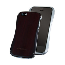 DRACO ALLURE WOOD Bumper case- for iPhone 5/5S (Wood/Sliver)