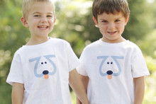 "Our twin ""Playful Puppy"" toddler tee. This Playful Puppy is designed with the number 2, of course, giving it cuteness X2!"