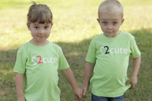 "Our twin toddler ""2 Cute"" t-shirt is available in sage green."