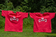 "Twin toddler t-shirt set. My Twins Are Cuter ""Clever Crab"" with a distressed white ink on a vintage red tee. Fun twin t-shirt set."