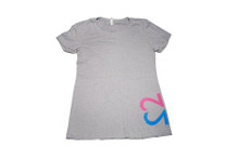 Twin mom tee. My Twins Are Cuter logo, in a pink and blue ink, on the left front and back. company name on the back of the t-shirt. Perfect girl/boy twin mom t-shirt.