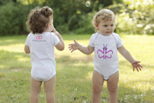 "Our twin ""Busy Butterfly"" infant set features a purple butterfly on the front designed with our signature number 2!"