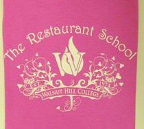 Swirly Pink Restaurant School Logo T-Shirt - Short Sleeve