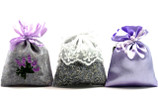 Three Lavender Filled Sachets Packaged in a Clear Pillow Box