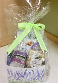 Foodie Gift Basket - Contains herbs de provence, culinary lavender, 2 cracker mixes, cashew almond toffee popcorn and lavender lemon shortbread cookies.