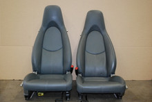 Factory Porsche 997 987 Cayman Seats 2 way power Grey Leather OEM 911 997 Gray