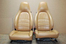 Porsche 911 993 Carrera Sand Beige Tan Leather Seats Pair LEFT RIGHT Factory OEM