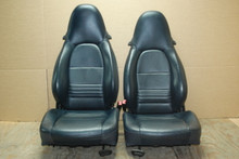 Porsche 911 986 996 Carrera Boxster S Navy Leather Seats Midnight Blue Pair OEM