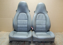 Porsche 911 986 996 Carrera Grey Supple Leather Seats LEFT RIGHT Crest Gray Pair