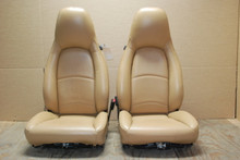 Porsche 911 993 Carrera Tan Sand Beige Leather Seats LEFT RIGHT Pair (2) OEM