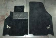 Porsche 911 996 Turbo Carrera RUF Black Floor Mats White Silver Logos Carpet Rug