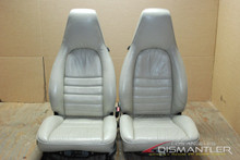 Porsche 911 964 Carrera White 4x8 Way Leather Seats Pair LEFT RIGHT Factory OEM
