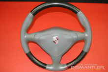 Porsche 911 996 Gray Leather Stitching Carbon Fiber Steering Wheel w/ Airbag OEM