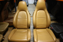 Porsche 993 911 Perforated Tan Leather Front Seats 8 Way Power