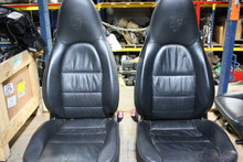 Porsche 993 Supple Black Leather Seats with Crest