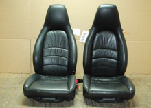 Porsche 911 993 Turbo 8 way Power Black Supple Leather Seats OEM